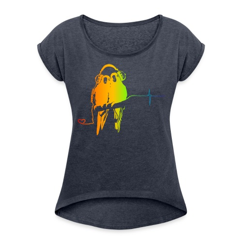 music parrots - Frauen T-Shirt mit gerollten Ärmeln