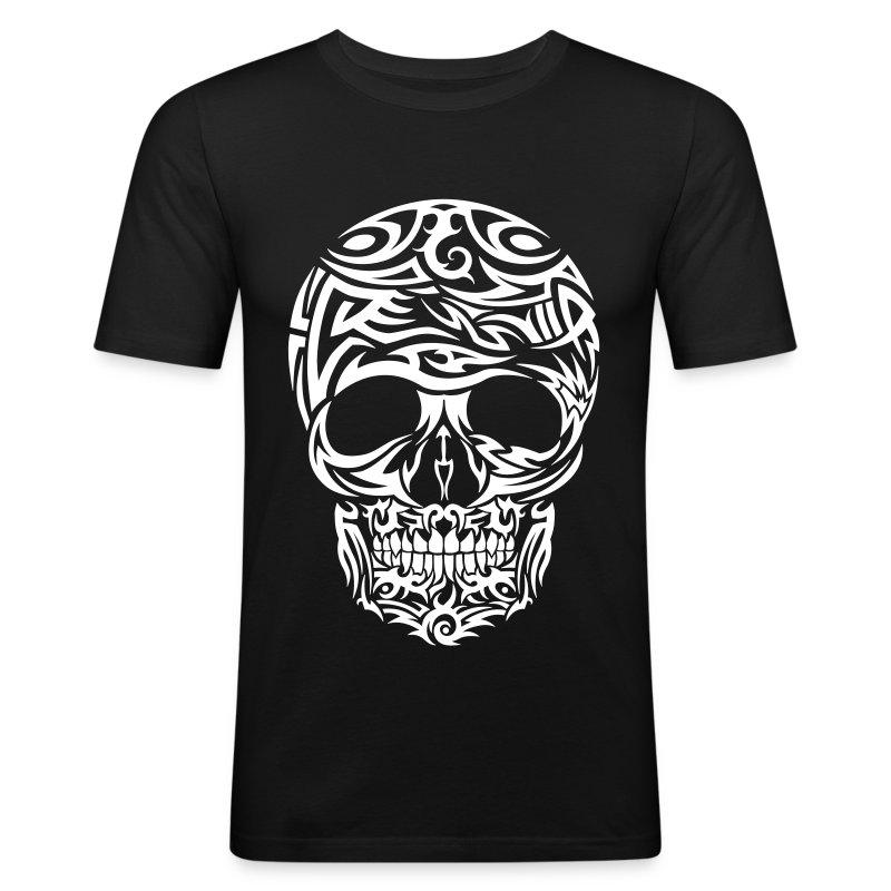 Tribal tattoo skull white t shirt spreadshirt for Tribal tattoo shirt