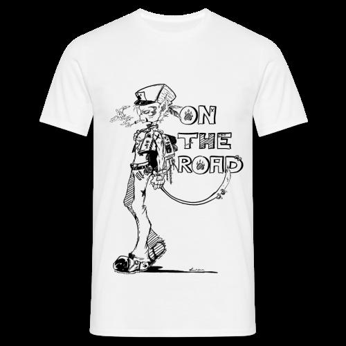 On the road homme chat à casquette et sac à dos avec cigarette - T-shirt Homme