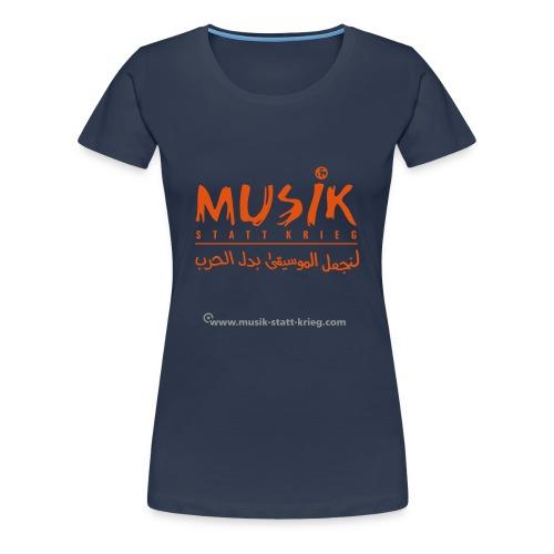 Frauen T-Shirt navy Flockdruck orange - Frauen Premium T-Shirt