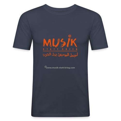 Männer T-Shirt navy Flockdruck orange - Männer Slim Fit T-Shirt
