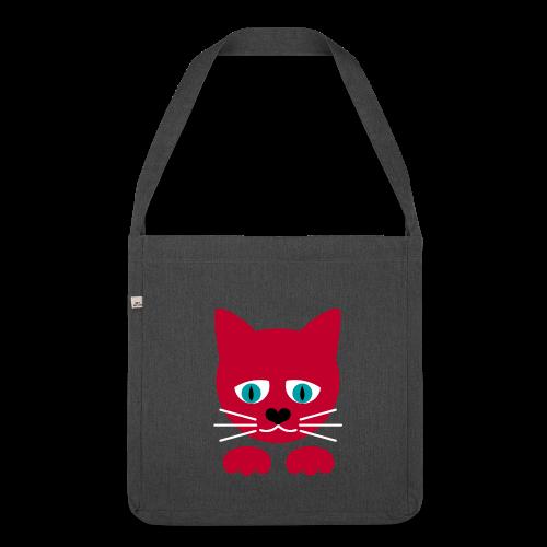 schraegerfuerst, red cat - Schultertasche aus Recycling-Material