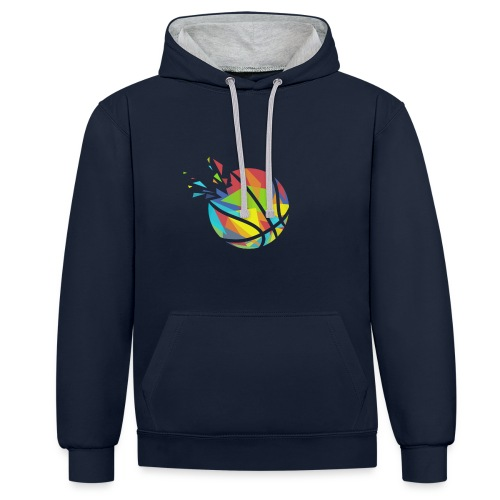 Basketball farbig abstrakt Explosion - Contrast Colour Hoodie