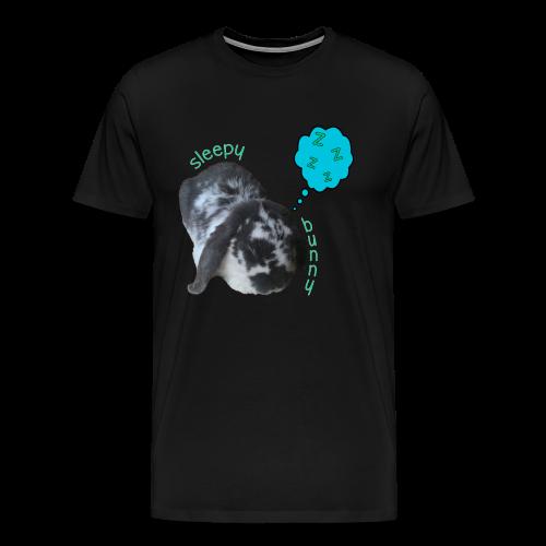Men's Sleepy Bunny T-Shirt - Text With White Outline - Men's Premium T-Shirt