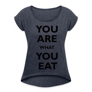 koszulka - Koszulka damska z lekko podwiniętymi rękawami