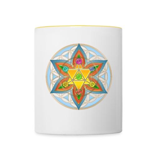Die Blume des Lebens-Gelb - Tasse zweifarbig