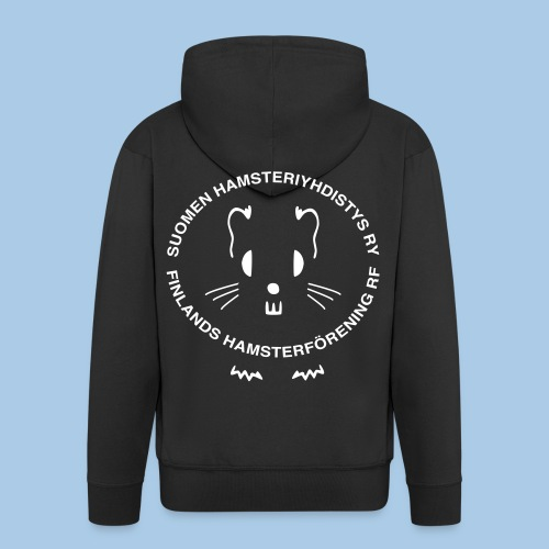 Miesten vetoketjuhuppari valkoisella logolla selässä - Miesten premium vetoketjullinen huppari