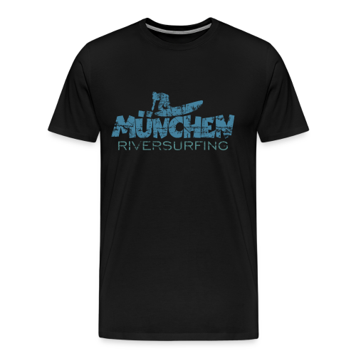 München Riversurfing T-Shirt (Schwarz/Blau) Vintage - Männer Premium T-Shirt
