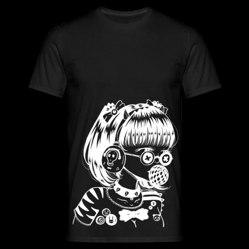 Fille manga rock goth avec casque audio et lunettes rondes - T-shirt Homme