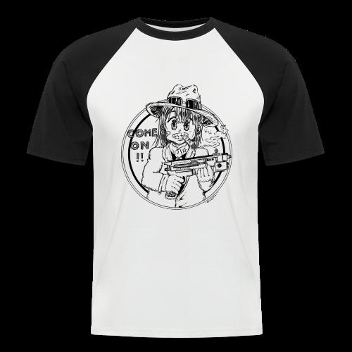 Fille manga gangster avec pistolet et chapeau de paille come on - T-shirt baseball manches courtes Homme