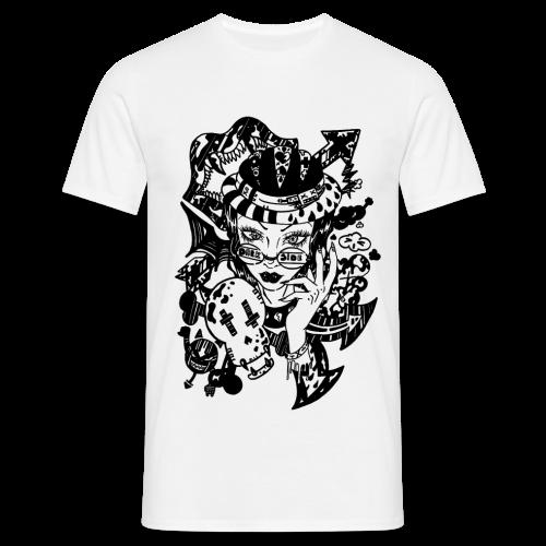 Dessin femme vampire hipster à lunettes Dark Side noir et blanc - T-shirt Homme