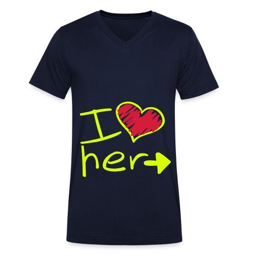 Partner Tshirt für Ihn - Männer Bio-T-Shirt mit V-Ausschnitt von Stanley & Stella