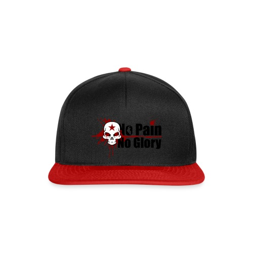 Snapback Cap No Pain No Glory Skull & Blood black red - Snapback Cap