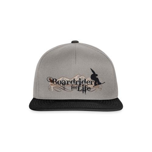 Snapback Cap Boardrider 4 Life Snowboard grey black brown - Snapback Cap