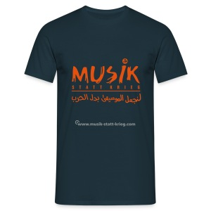 Männer T-Shirt navy Flockdruck orange - Männer T-Shirt