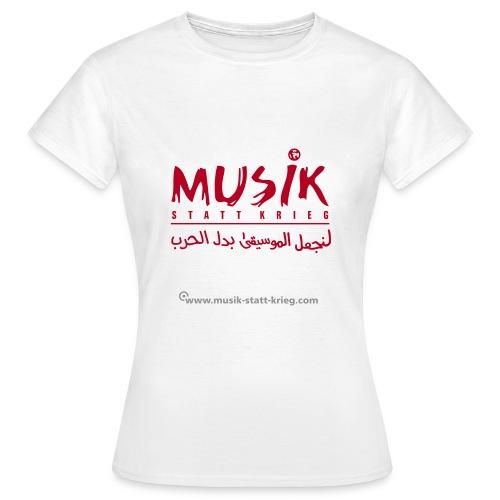 Frauen T-Shirt weiß Flockdruck rot - Frauen T-Shirt