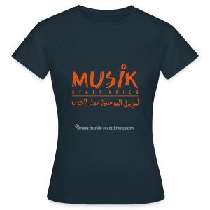 Frauen T-Shirt navy Flockdruck orange - Frauen T-Shirt
