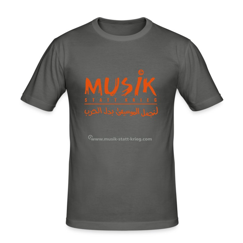 Männer T-Shirt graphit Flockdruck orange - Männer Slim Fit T-Shirt