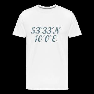 Hamburg Koordinaten (Vintage Blau) S-5XL T-Shirt - Männer Premium T-Shirt