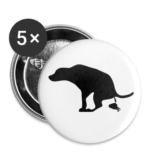 Buttons Hund scheißt auf Nazis - Buttons large 2.2''/56 mm(5-pack)