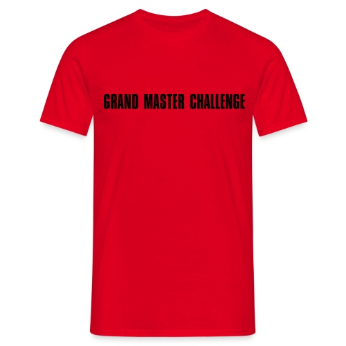 GMC Simple English Logo Black On Red (Basic) - Men's T-Shirt