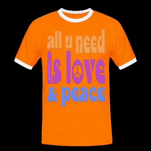 love and peace - Männer Kontrast-T-Shirt