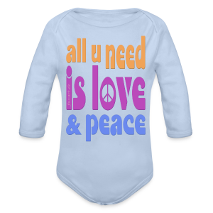 love and peace - Baby Bio-Langarm-Body