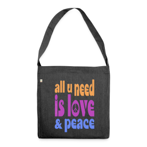 love and peace - Schultertasche aus Recycling-Material