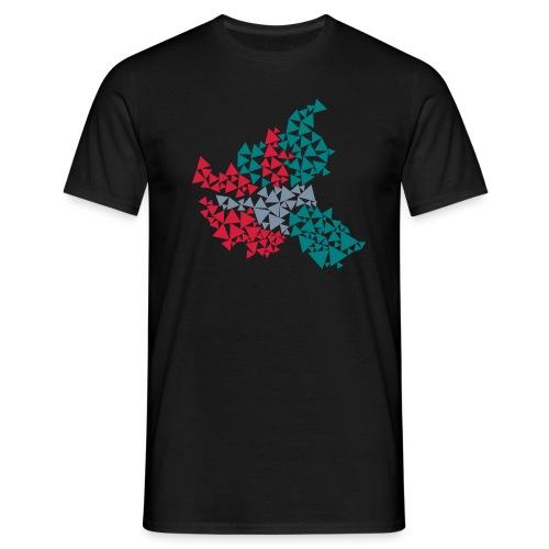 Hamburg aus Dreiecken, dreifarbig - Männer T-Shirt