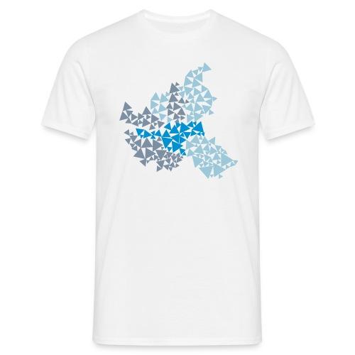 Hamburg aus Dreiecken, dreifarbig (Blautöne) - Männer T-Shirt