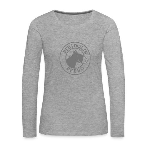 Longsleeve mit Aufdruck in grau - Frauen Premium Langarmshirt