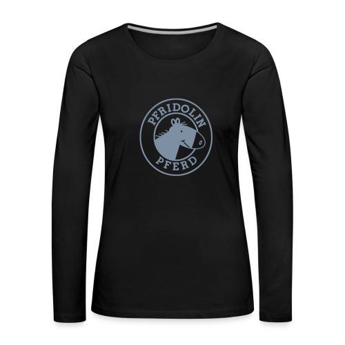 Longsleeve mit Aufdruck in silber-metallic - Frauen Premium Langarmshirt