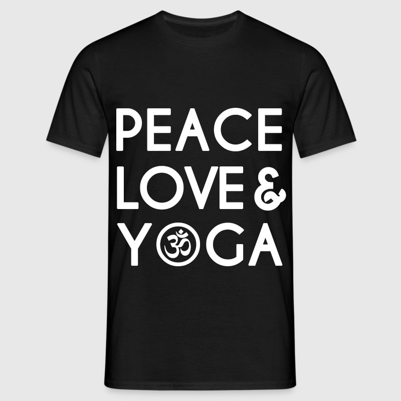 Peace, Love, Yoga  T-Shirts - Men's T-Shirt