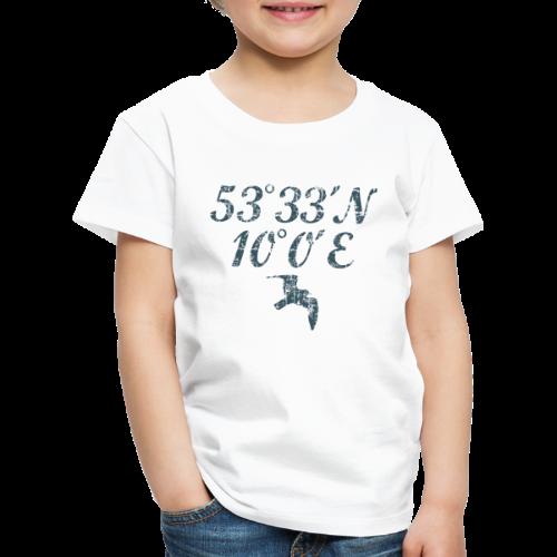 Hamburg Koordinaten Möwe (Vintage Blau) Kinder T-Shirt - Kinder Premium T-Shirt