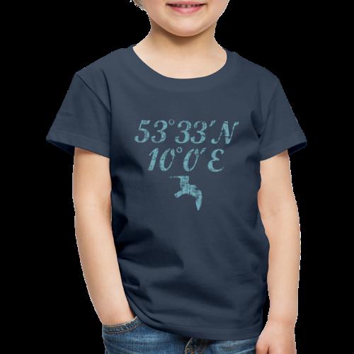 Hamburg Koordinaten Möwe (Vintage Hellblau) Kinder T-Shirt - Kinder Premium T-Shirt