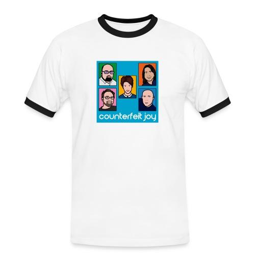 Counterfeit Joy - Mens short sleeved ringer t shirt with picture logo - Men's Ringer Shirt