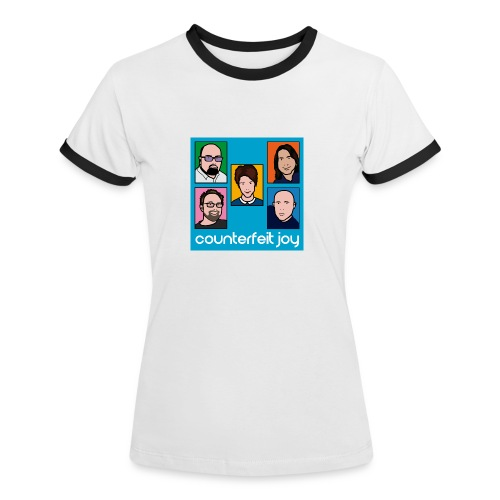 Counterfeit Joy - Womens ringer t shirt with picture logo - Women's Ringer T-Shirt