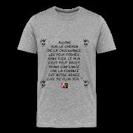 Tee shirts ~ Tee shirt Premium Homme ~ Allons sur le chemin de la croissance, Les yeux fermés, Sans voir le mur. C'est tout droit, Ayons confiance, Car la Finance est notre armée, Quoi de plus sûr ? - Jeux de Mots Francois Ville