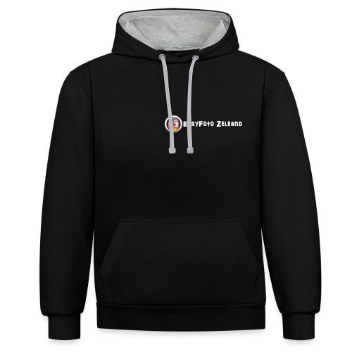 Unisex hoodie met capuchon zwart/kleur  - Contrast hoodie
