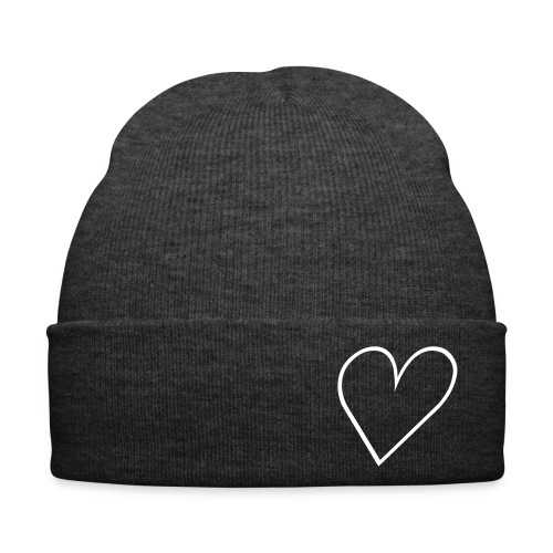 GREY HEART BEANIE - Winter Hat