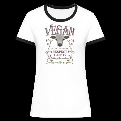 VEGAN - RESPECT LIFE - Frauen Kontrast-T-Shirt
