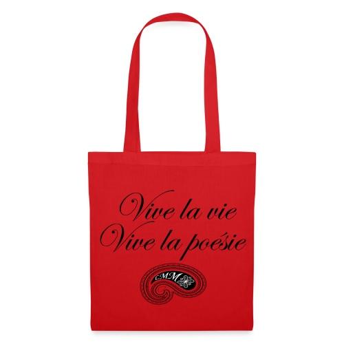 Sac en tissu rouge Vive la poésie - Tote Bag