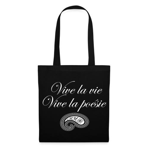 Sac en tissu noir Vive la poésie - Tote Bag