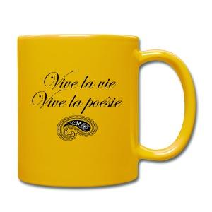 Mug jaune Vive la poésie - Tasse en couleur