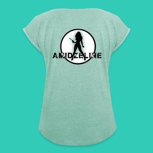 AmidZeline Vert - T-shirt à manches retroussées Femme