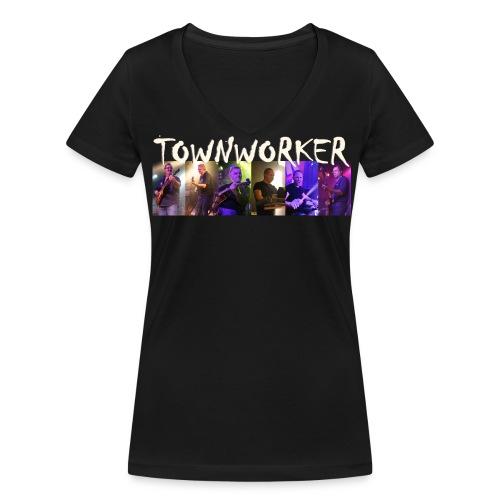 TOWNWORKER Damen-T-Shirt (mit Einzelfotos und Logo) - Frauen Bio-T-Shirt mit V-Ausschnitt von Stanley & Stella