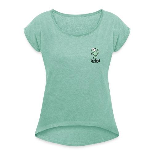 Femme modèle 1 vert - T-shirt à manches retroussées Femme