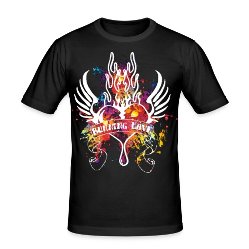 Herren T-Shirt Burning Love - Männer Slim Fit T-Shirt