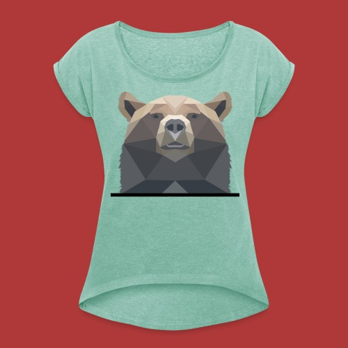 Tee shirt femme bear - T-shirt à manches retroussées Femme