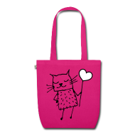 Taschen & Rucksäcke ~ Bio-Stoffbeutel ~ Katze Love Liebe Tasche pink
